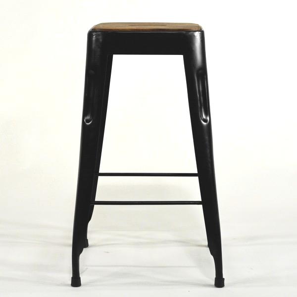 Metall Barhocker mit Holzsitz in shabby vintage