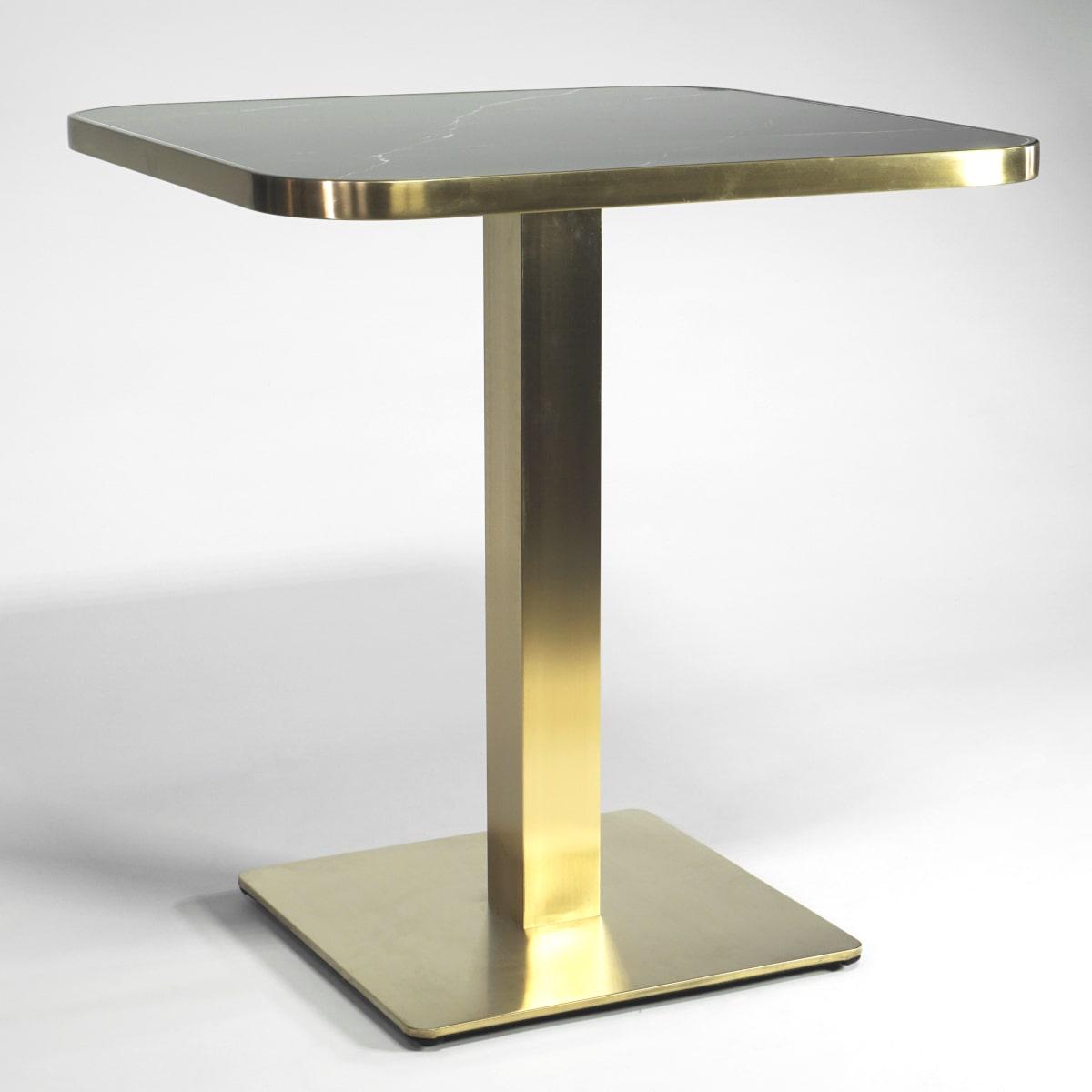 Bistrotisch schwarze Tischplatte Messing Tischläule