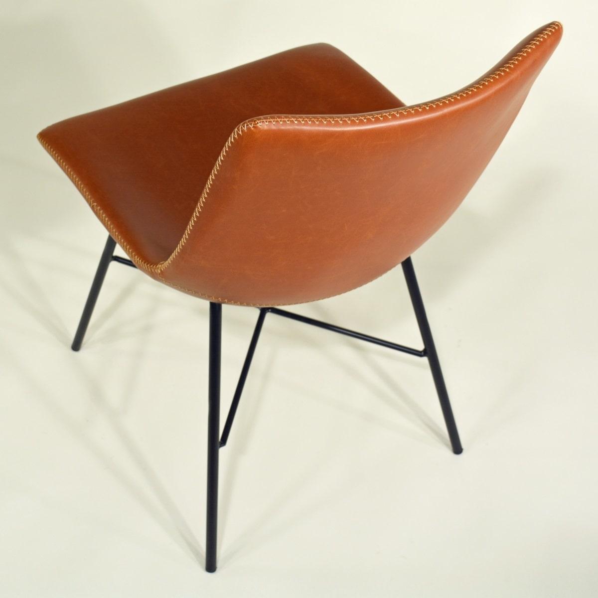 Stuhl Industrial Schick braun Metallgestell schwarz