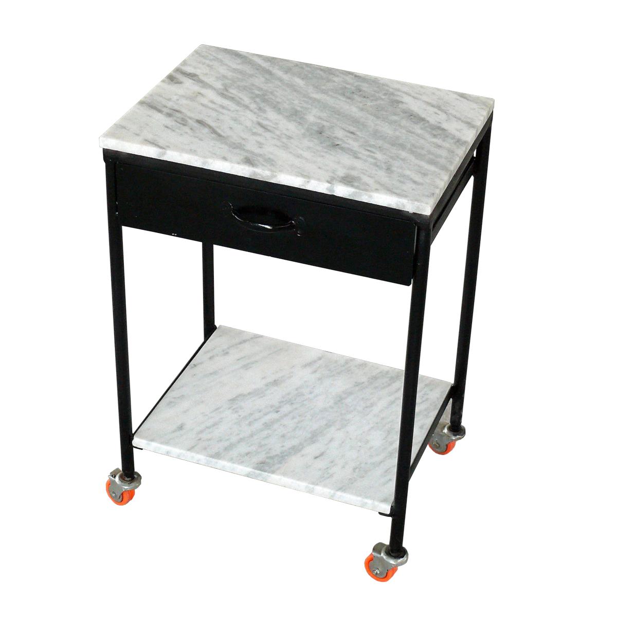 Beistelltisch auf Rollen, Schublade und Marmorplatte