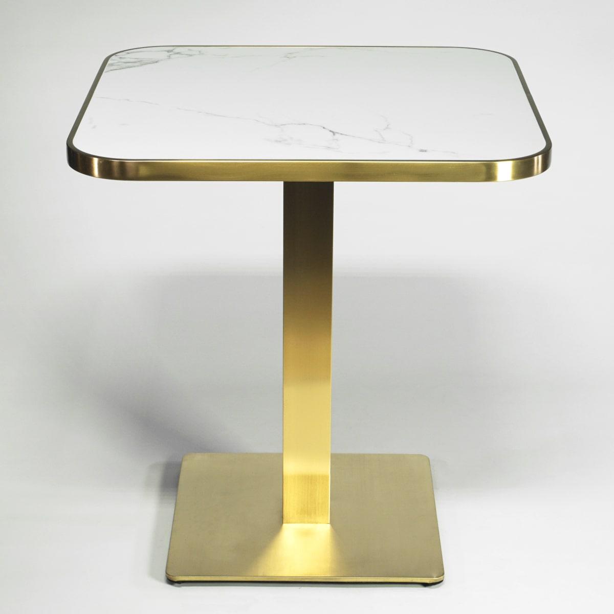 Tisch quadratisch weißer Keramik-Marmor Metallgestell Messing