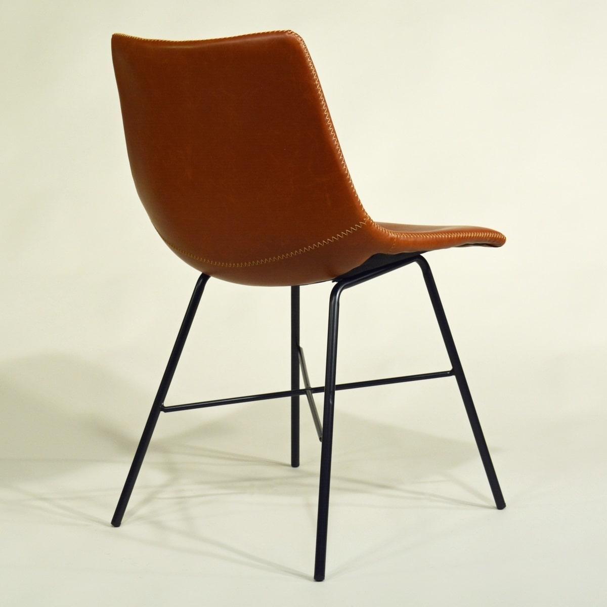Braner Stuhl gepolstert Metallgestell schwarz