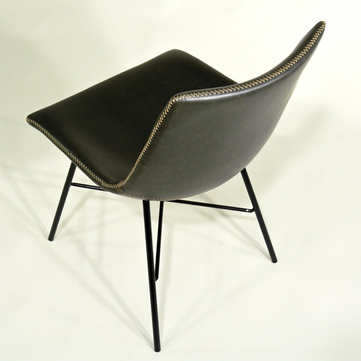Stuhl Vintage Stil gepolster dunkel grau