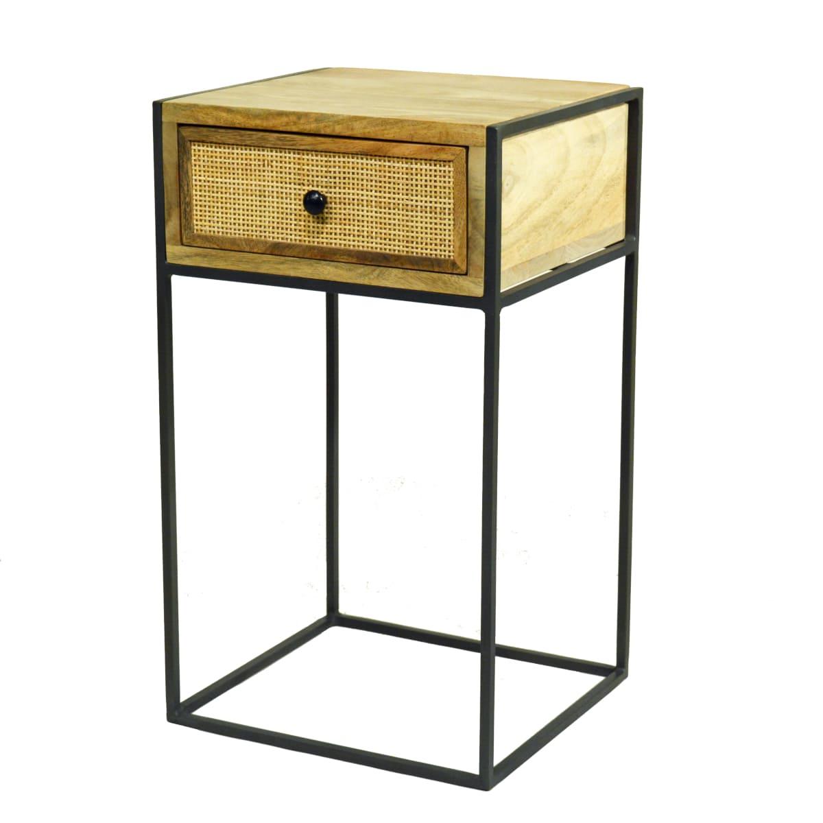Nachttisch mit Schublade helles Holz, Metallgestell, geradliniges Design