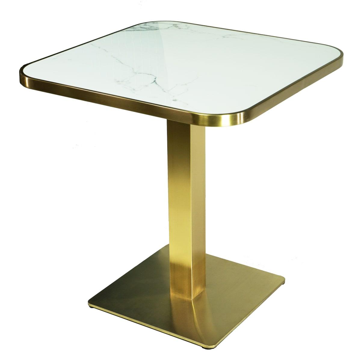 Kleiner Esstisch quadratisch Marmor weiß Gestell goldenes Messing