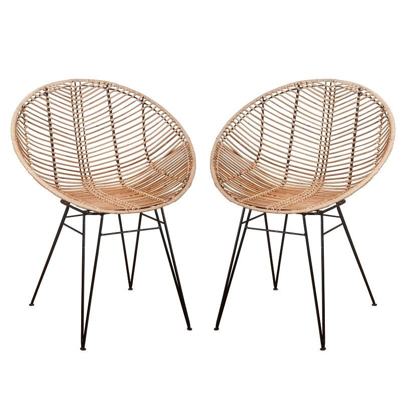Rattan-Stuhl Sakura natur 2er-Set