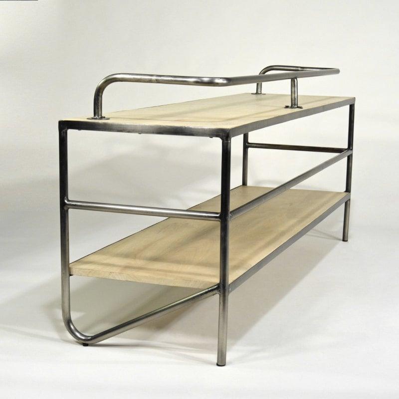 Lowboard Tisch für TV Holz Stahl