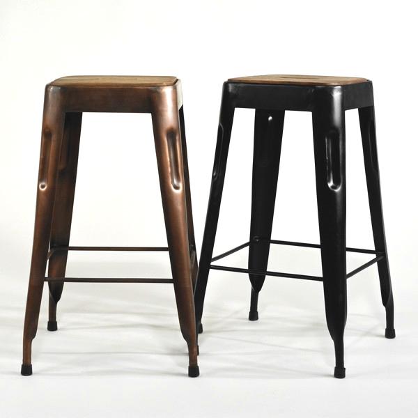Tresen-Hocker schwarz Vintage