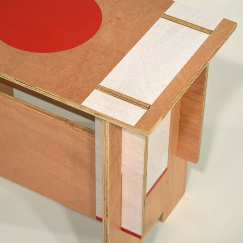 Zen Motiv Design Hocker Holz