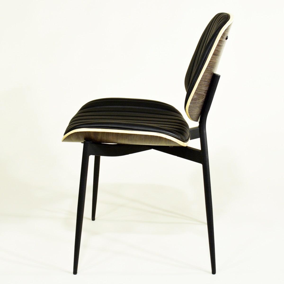 Vintage Design Stuhl schwarz Holz Metall