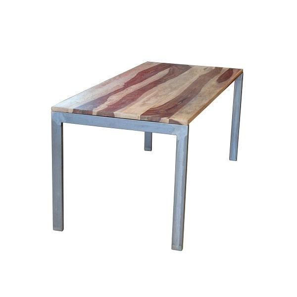 Tisch Rosenholz und Stahlgestell Industrial