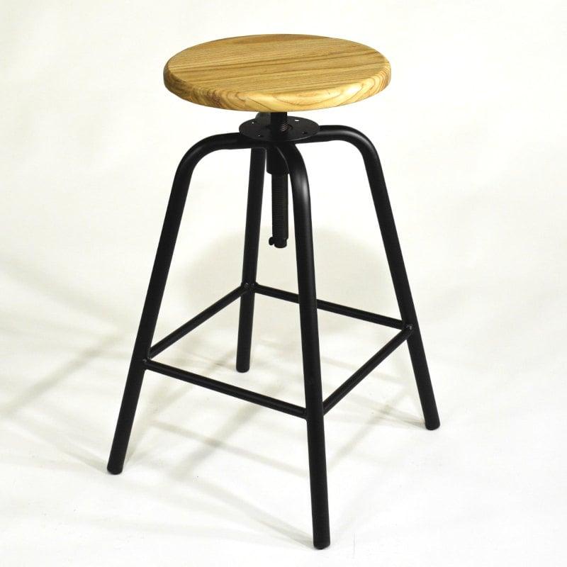 Barhocker schwarzes Metall Sitz Naturholz