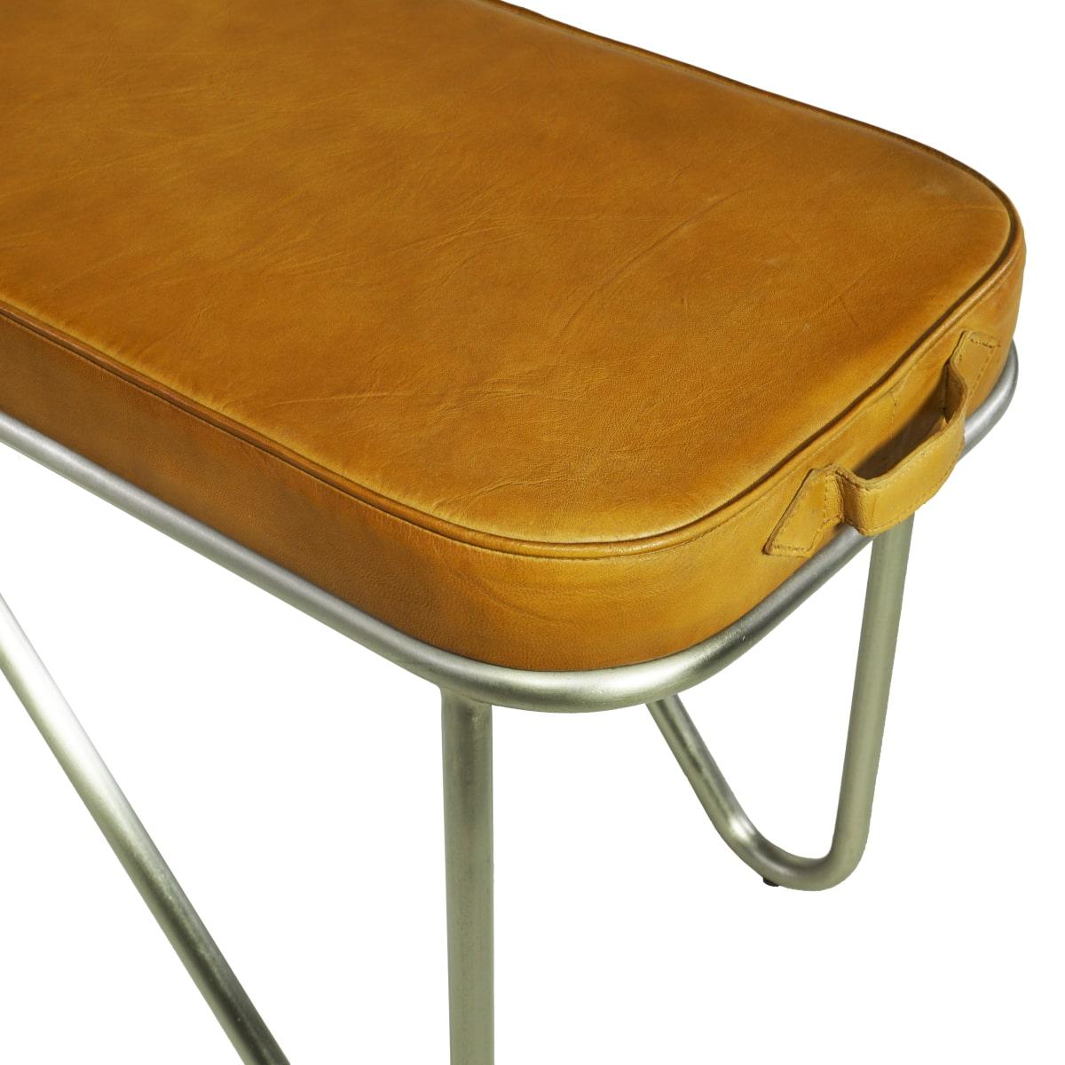 Sitzbank Leder braun Stahlrohrgestell