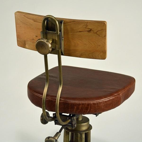 Vintage Dreh-Barhocker Ledersitz