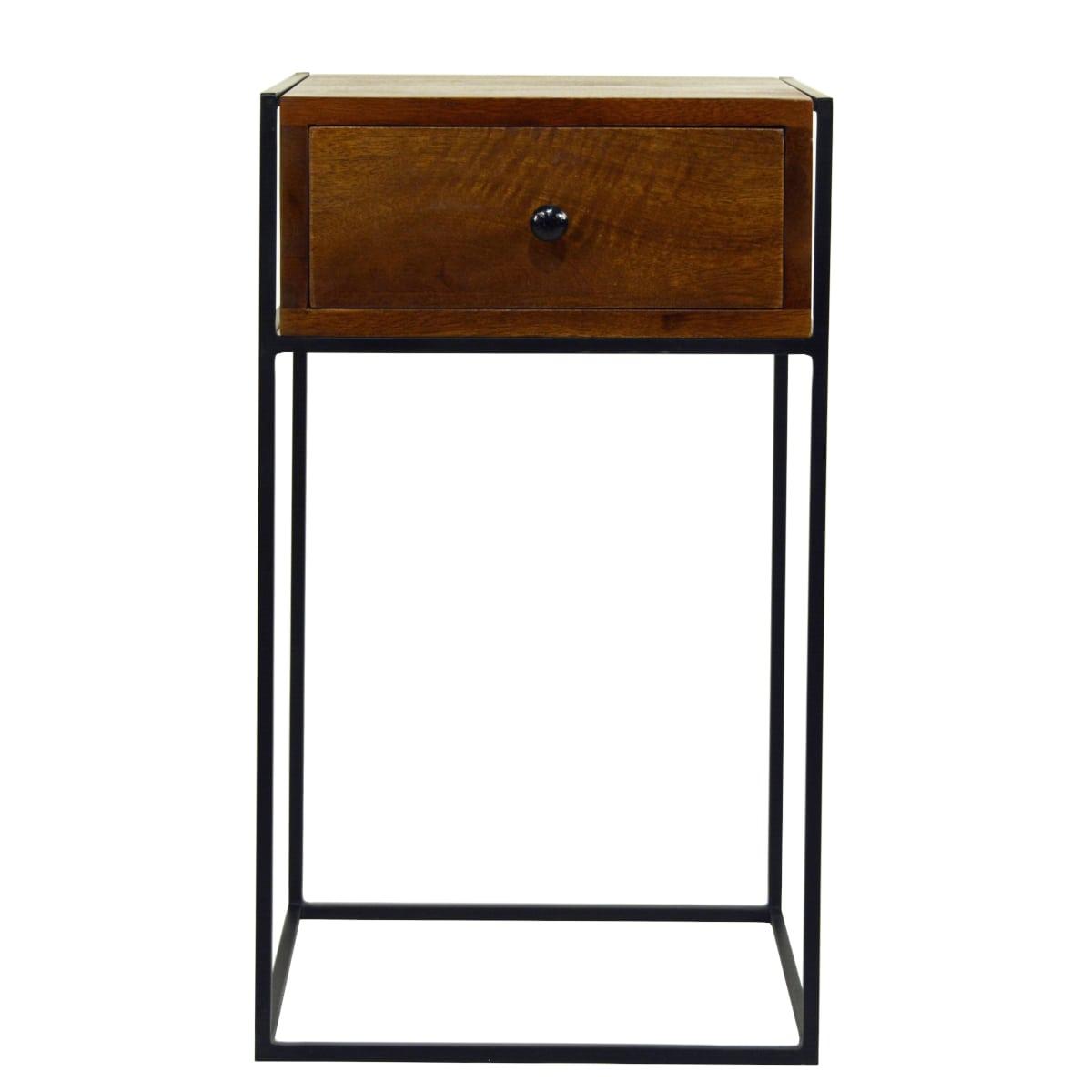 Beistelltisch oder Nachttisch walnuss-farben und schwarzes Metall