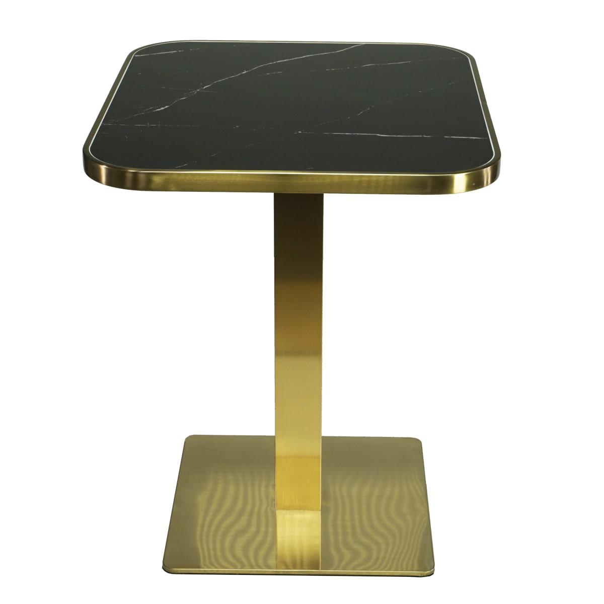 Bistrotisch 60x70cm schwarzer Marmor und Messing Rahmen