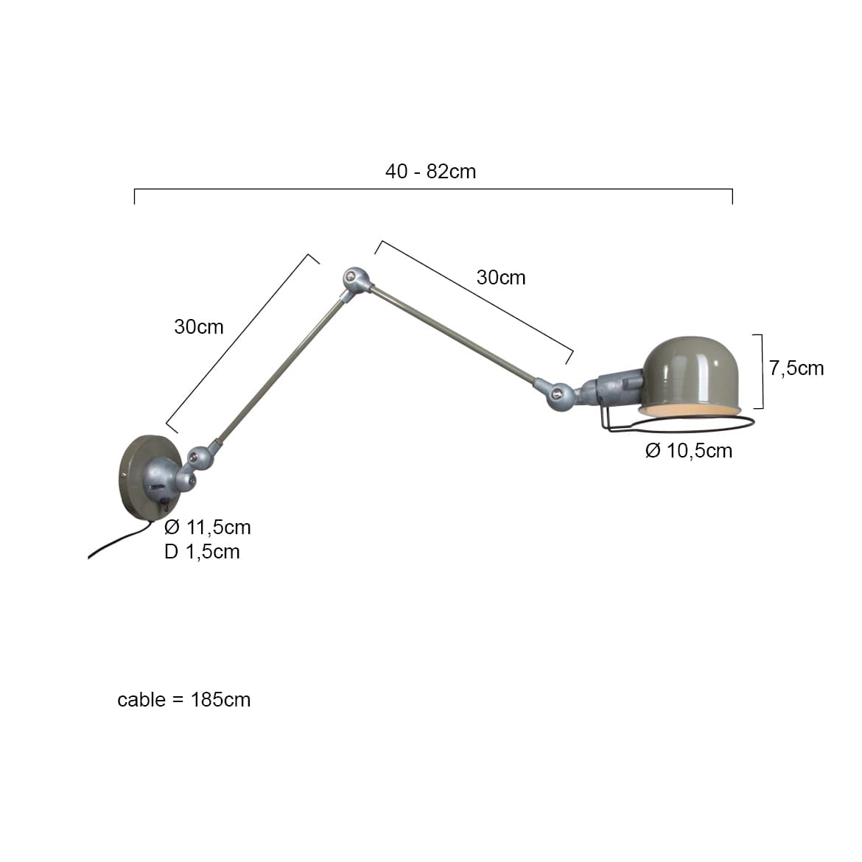 Wandlampe Industrial Stil Abmessuungen