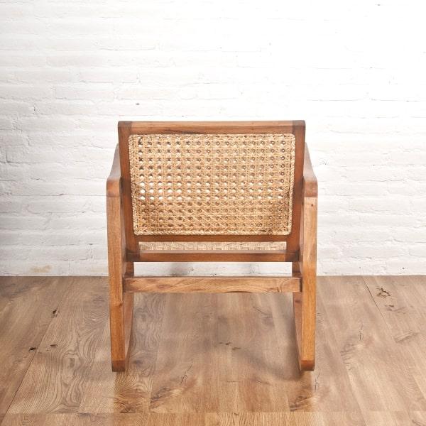 Design Schaukelstuhl Holz und Rattan
