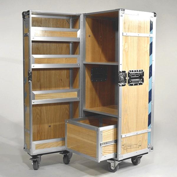 Schrank Fkightcase Design Holz Rollen Alu-Profile