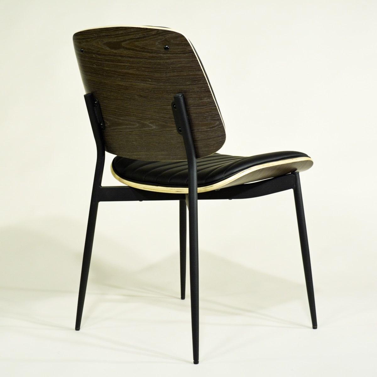 Stuhl gepolstert Formholz Schwarz Metallbeine