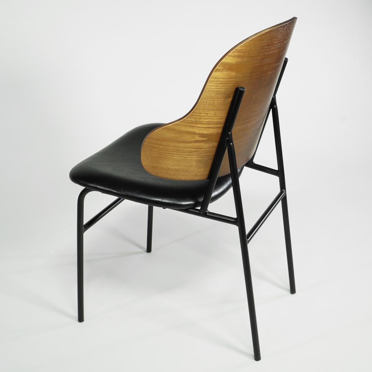 Stuhl Rückenlehne walnussfarben Sitz schwarz