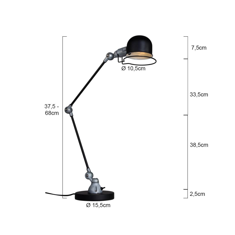 Schwarze Schreibtischlampe Factory Stil Abmessungen