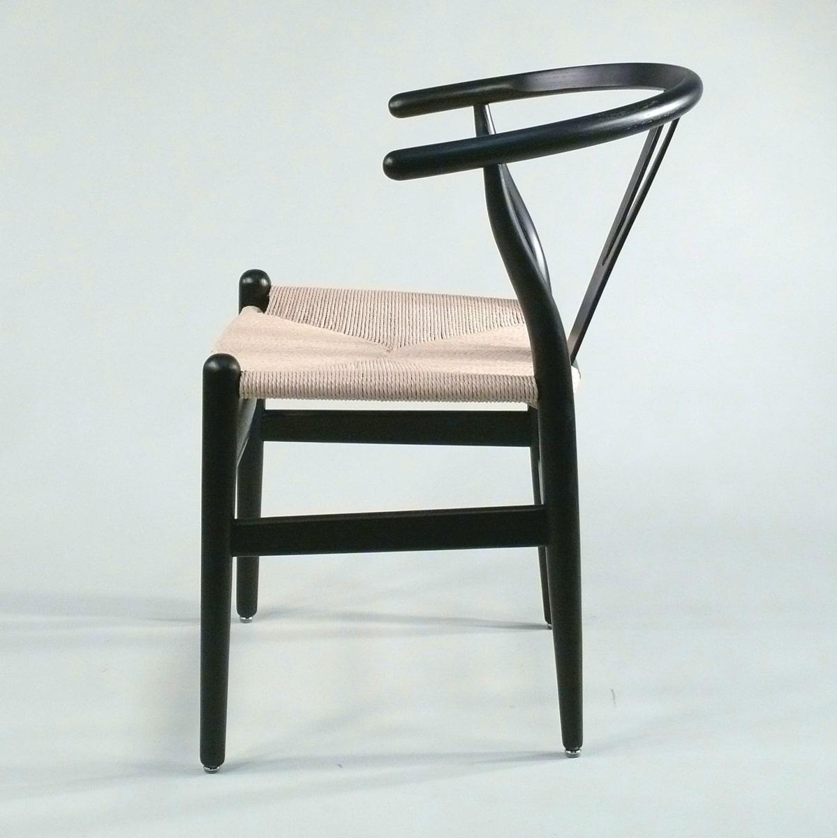 Armlehnstuhl Holz schwarz Sitz natur