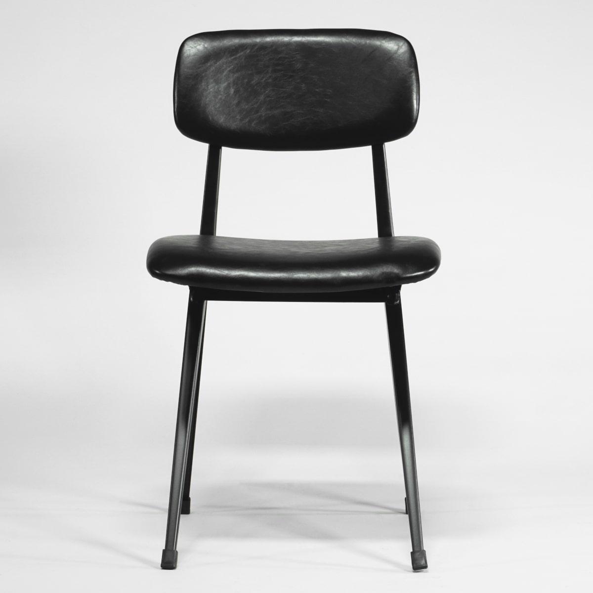 Metallstuhl Vintage schwarz gepolstert