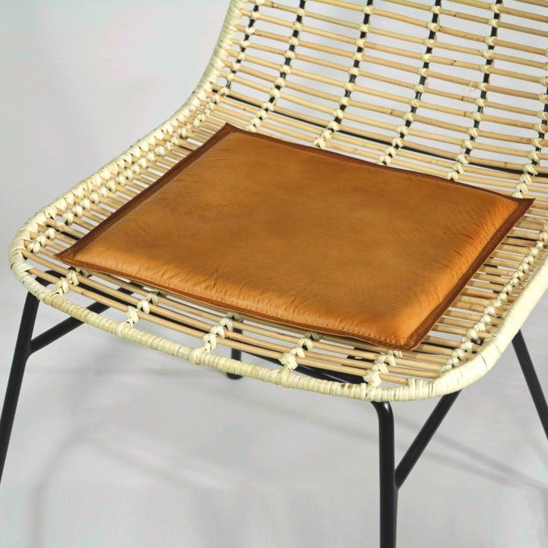 Leder-Sitzauflage cognac-braun