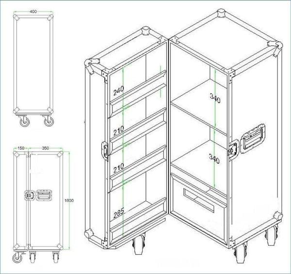 Mobiler Container im FlightCase Design Skizze