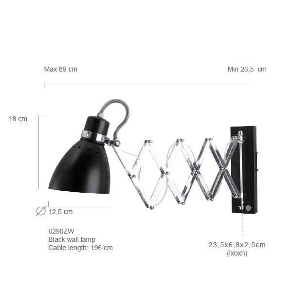 Wandlampe ausziehbar Scherenarm schwarz Abmessungen