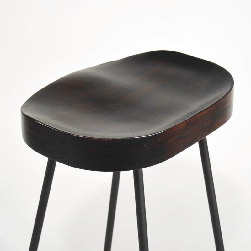 Barhocker Metall geformter Holzsitz