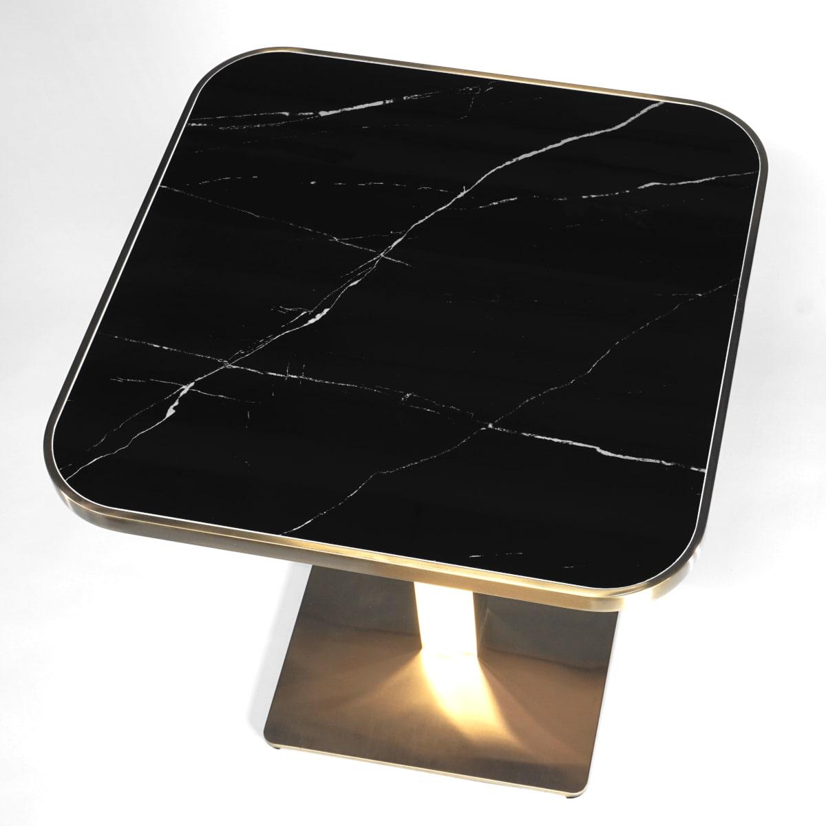 Esstisch klein Tischplatte schwarze Marmor Optik
