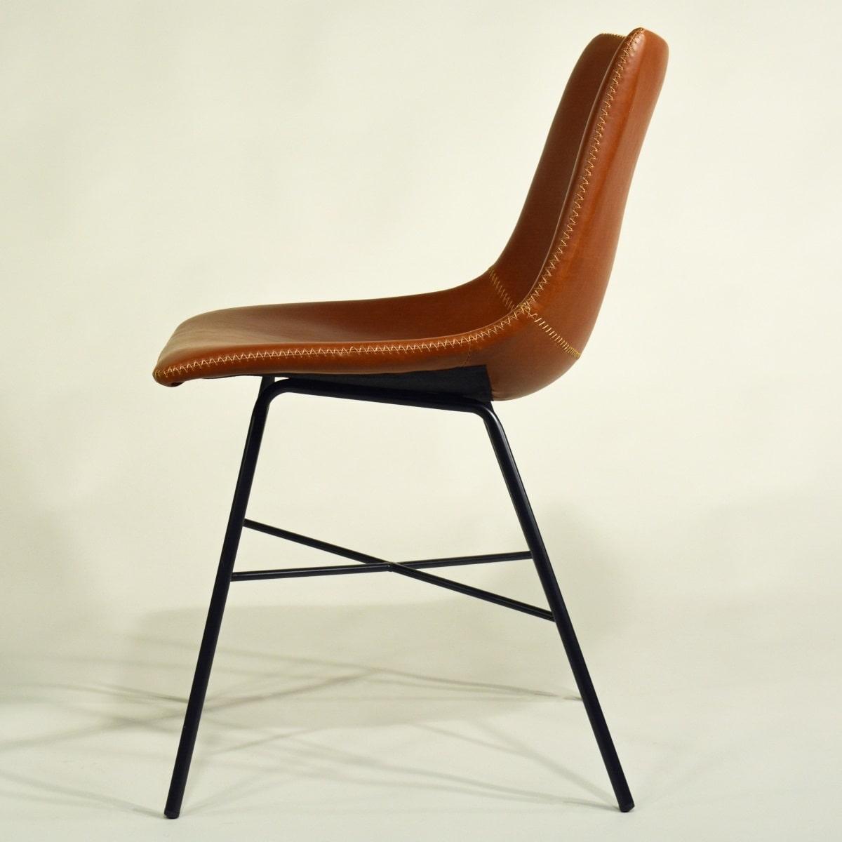 Stuhl braun gepolstert Industrial Vintage