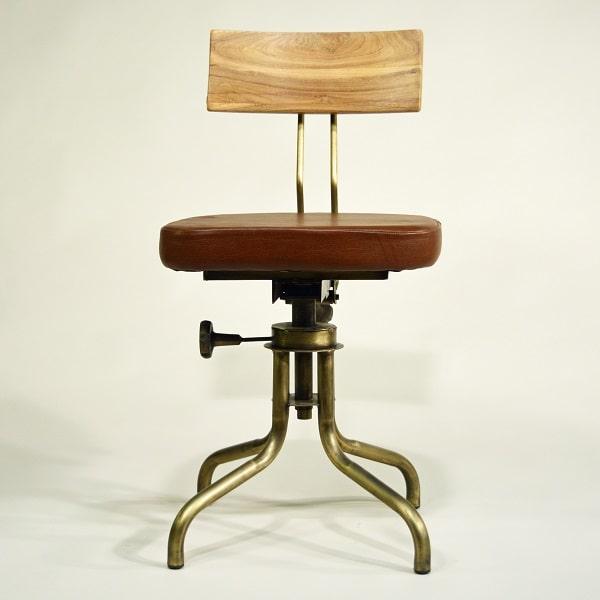 Industrial Design Stuhl mit gepolstertem Ledersitz