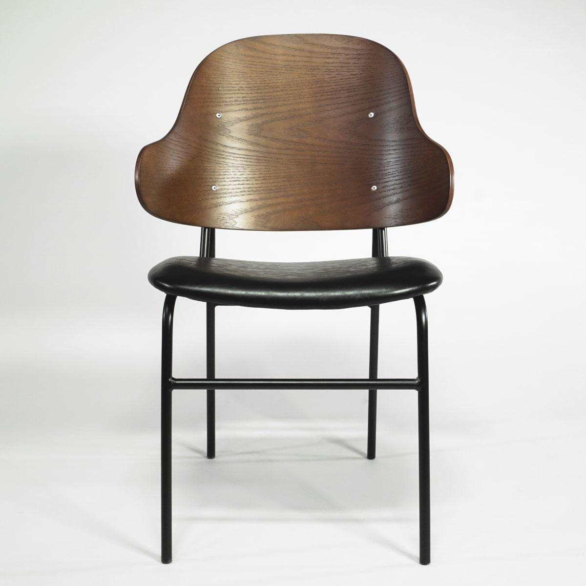 Gastrostuhl aus Holz und Metall gepolstert Vintage