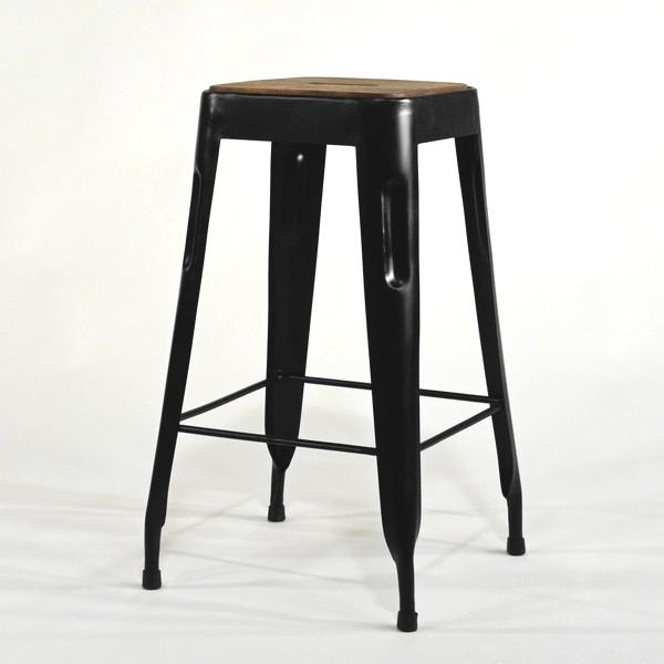 Hocker Vintage schwarz Metall mit Holzsitz