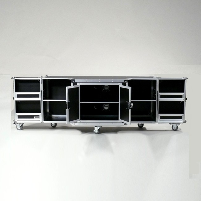 FlightCase Media Möbel rollbar schwarz Alu
