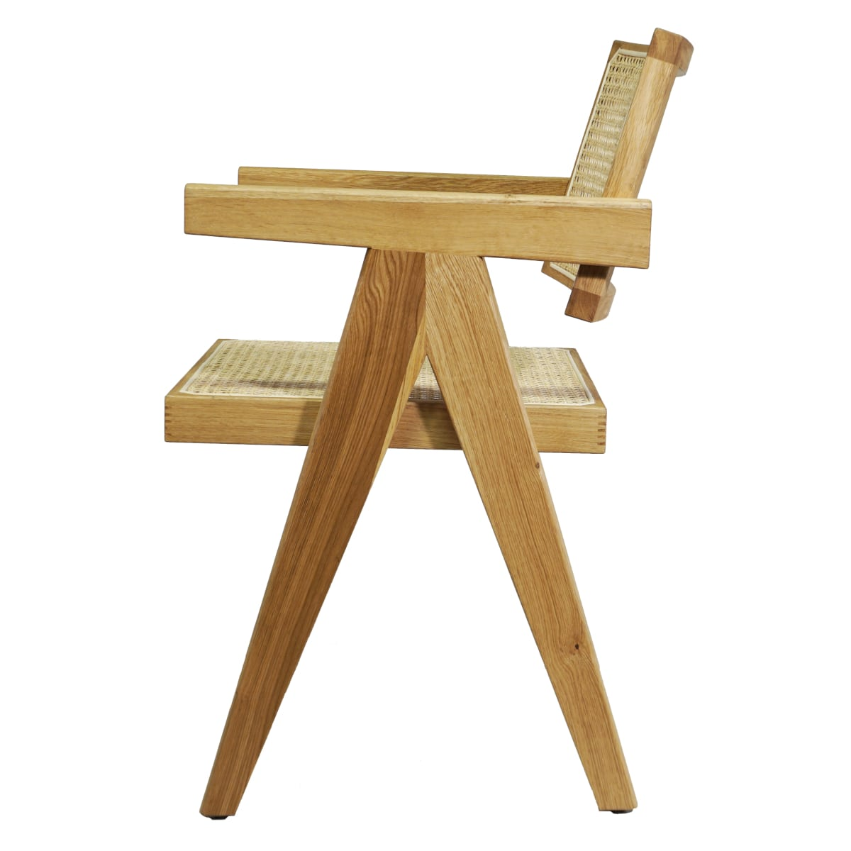 Armlehnstuhl helles Holz Seitansicht