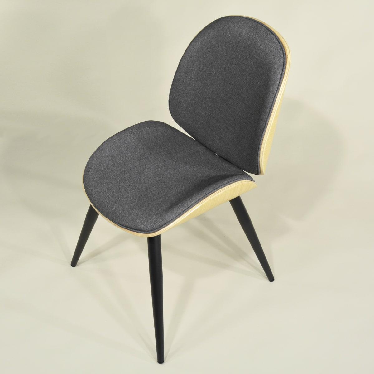 Design Stuhl Formholz Beine Metall schwarz