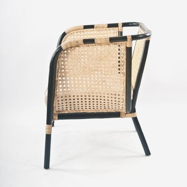 Retro Lounge Sessel Rattan Geflecht gepolstert