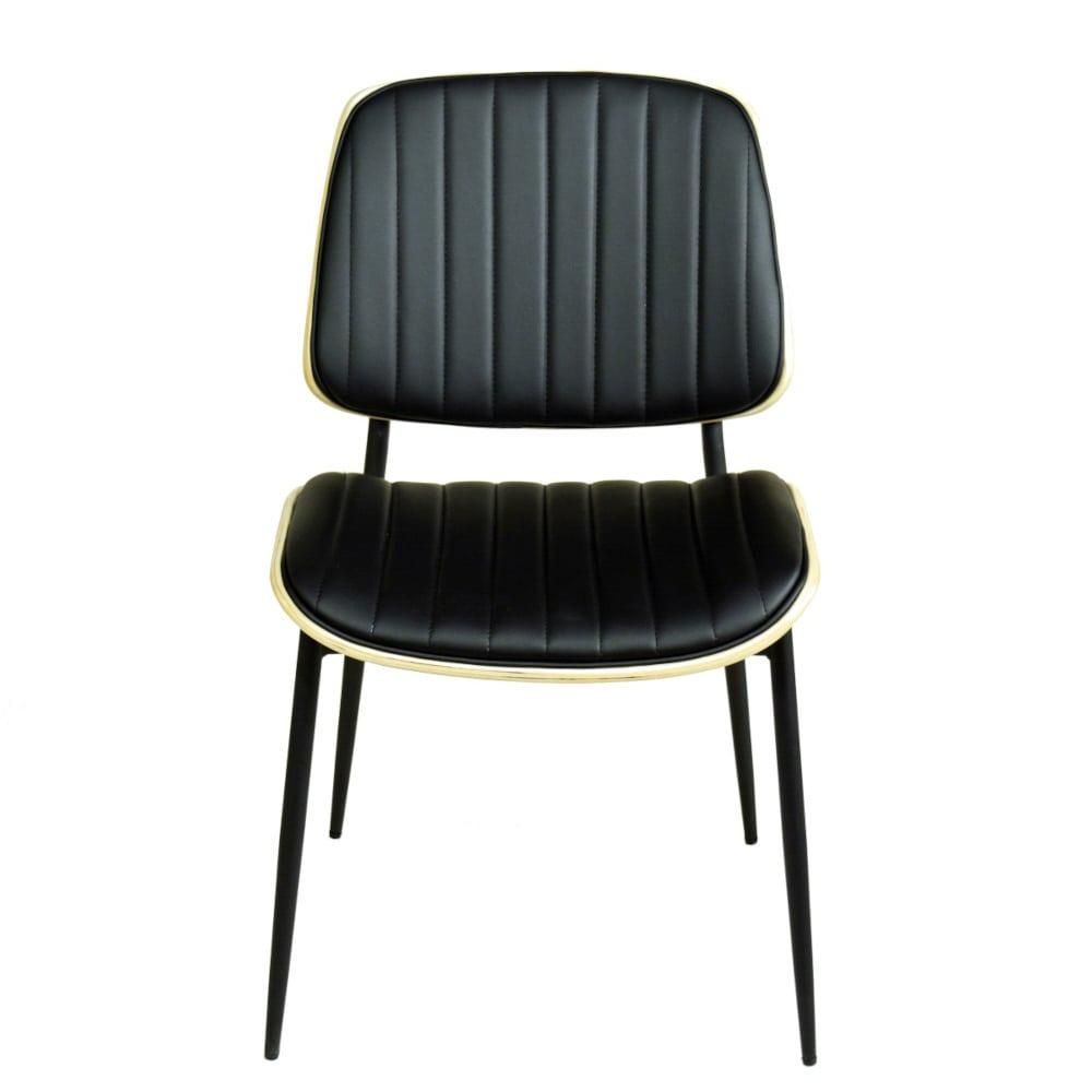 Besucherstuhl Gastrostuhl schwarz gepolster Vintage