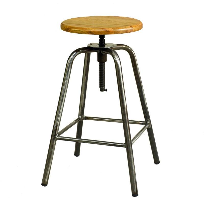 Hocker drehbar Holzsitz Metall