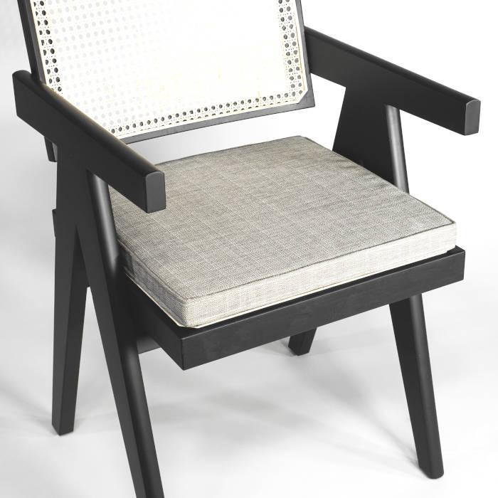 """Kissenauflage """"Seasalt Quadrat"""" für Chandigarh Common Chair Eiche und Schwarz"""