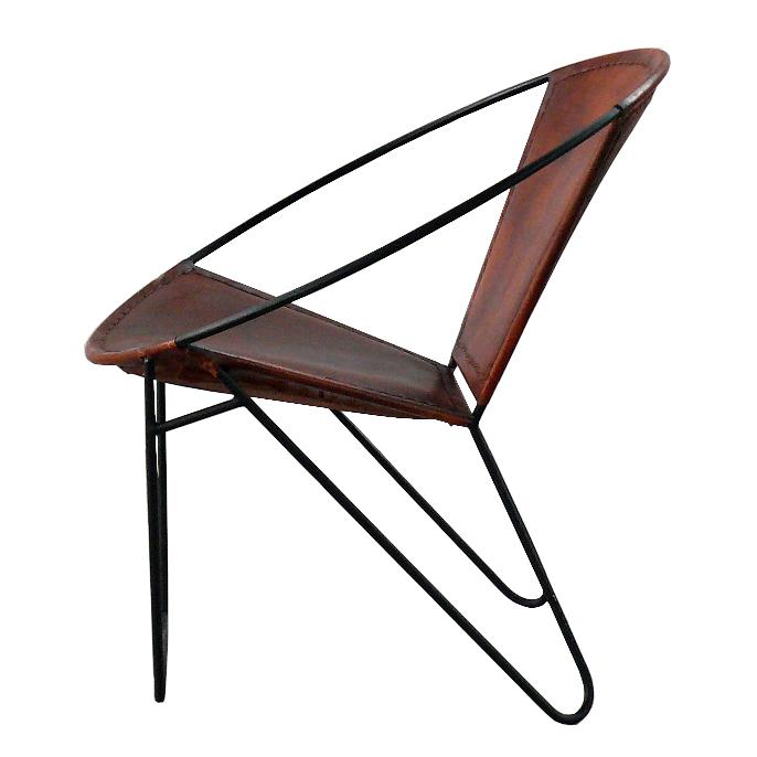 Retro Design Sessel Echtleder braun
