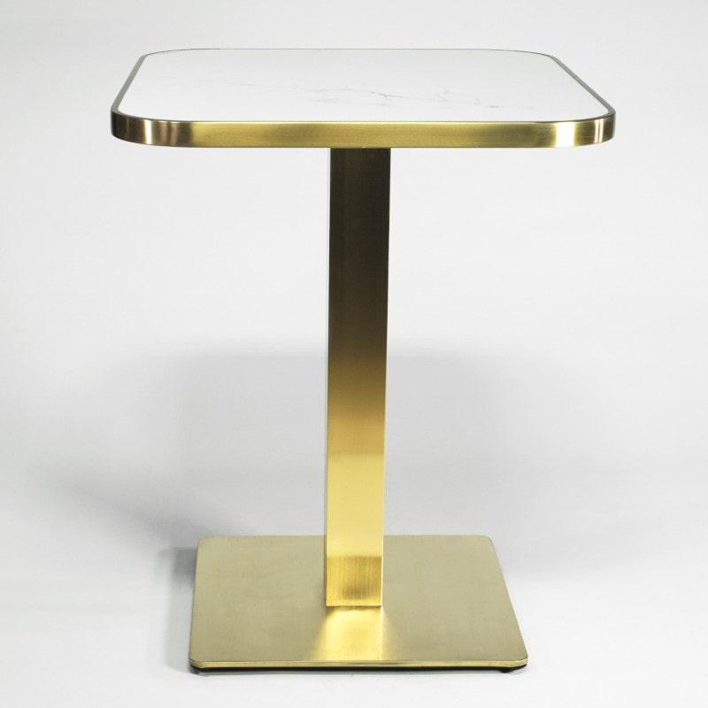 Tisch Mid Century Weiß und Messing