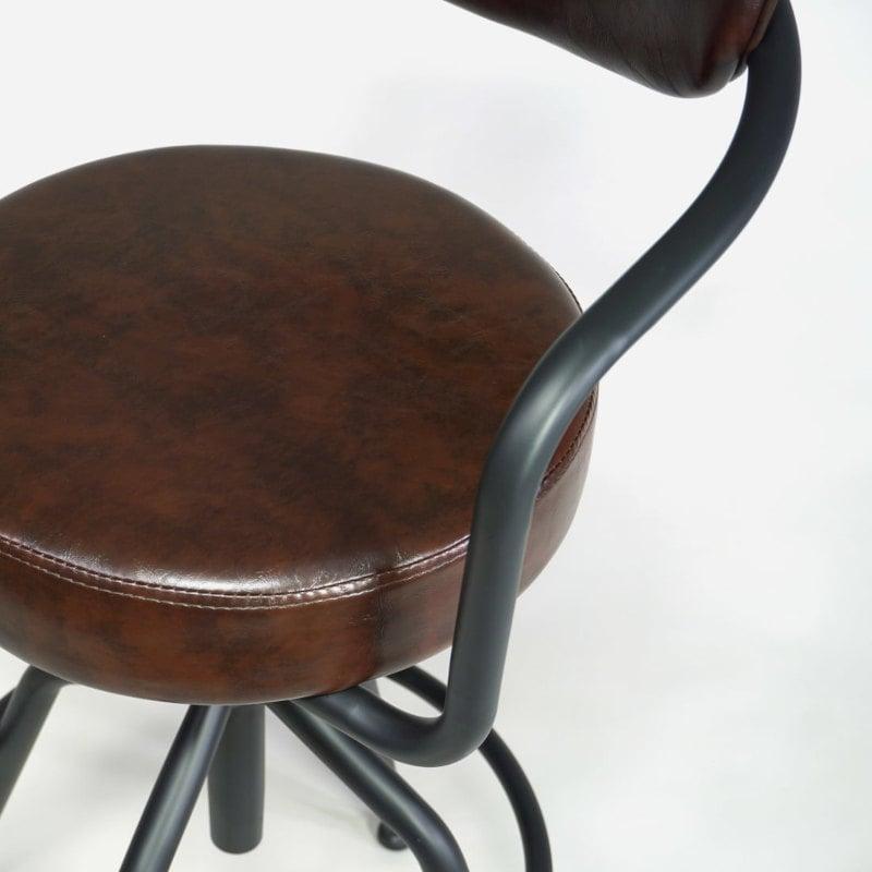 Industrial Vintage Barhocker gepolstert braun