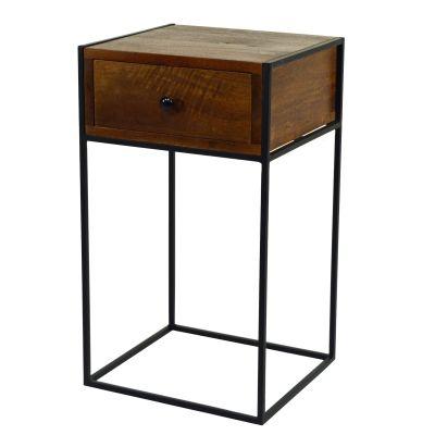 Beistelltisch klares Design mit Schublade, dunkles Holz und Metall