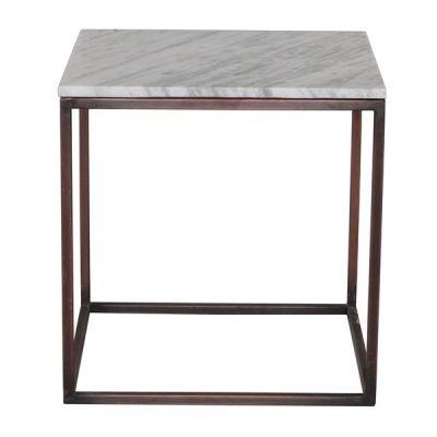 Beistelltscih Gestll Kupfer, Tischplatte weißer Marmor