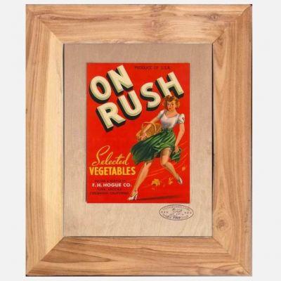 On Rush Gemüse Aufkleber im Teakrahmen